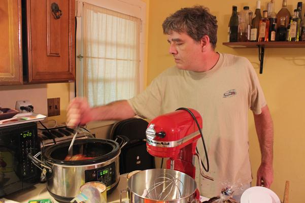 Dave stirring spaghetti sauce