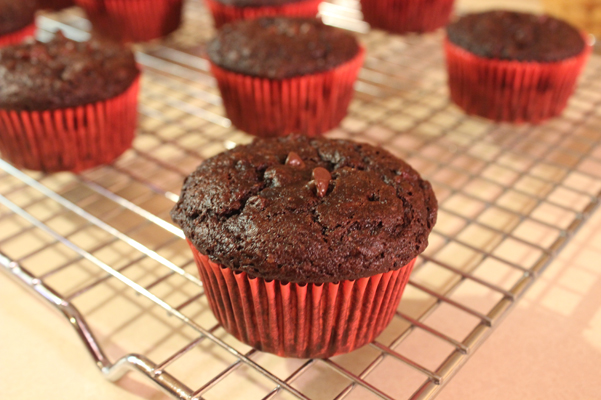 Skinny Chocolate Fudge Banana Muffins on rack