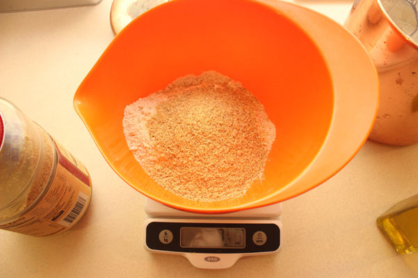 flour and wheat germ, weighed