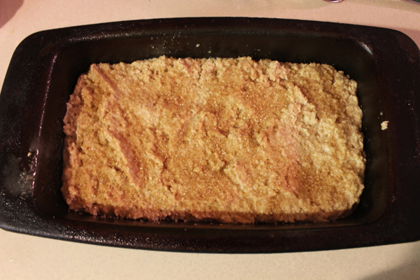 batter in pan with sugar