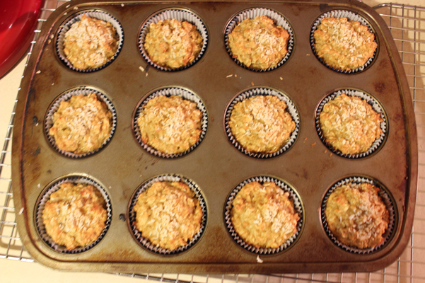 coconut oat muffins, baked