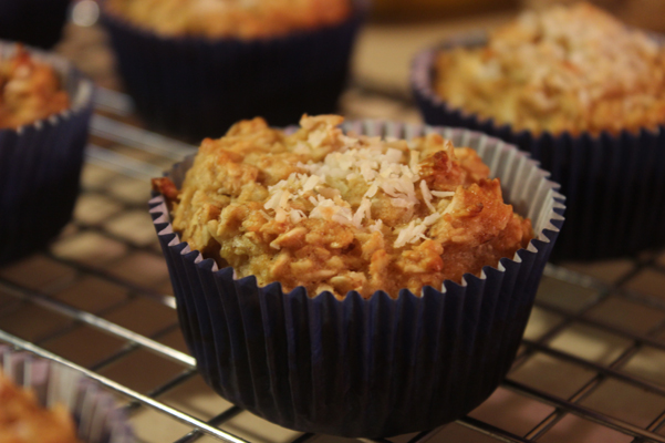 coconut oat muffins on rack