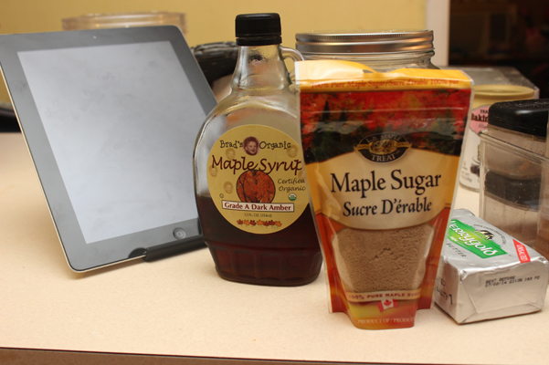 maple ingredients with butter and ipad